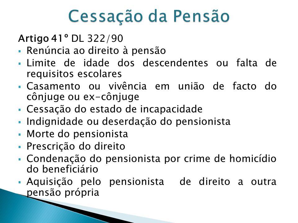 Cessação da Pensão Artigo 41º DL 322/90 Renúncia ao direito à pensão