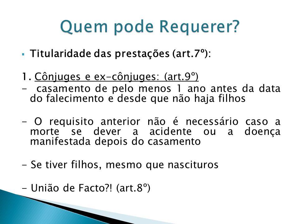 Quem pode Requerer Titularidade das prestações (art.7º):