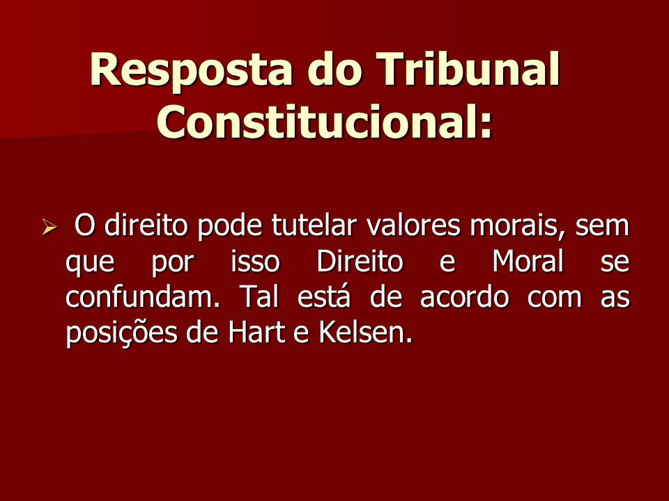 Resposta do Tribunal Constitucional: