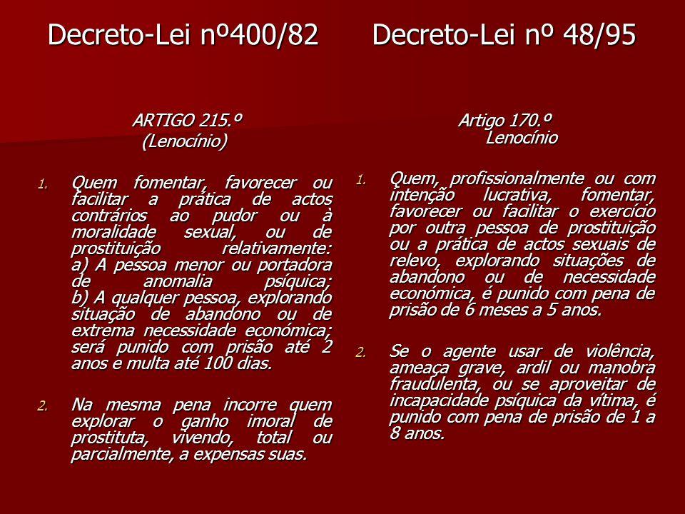 Decreto-Lei nº400/82 Decreto-Lei nº 48/95 ARTIGO 215.º (Lenocínio)