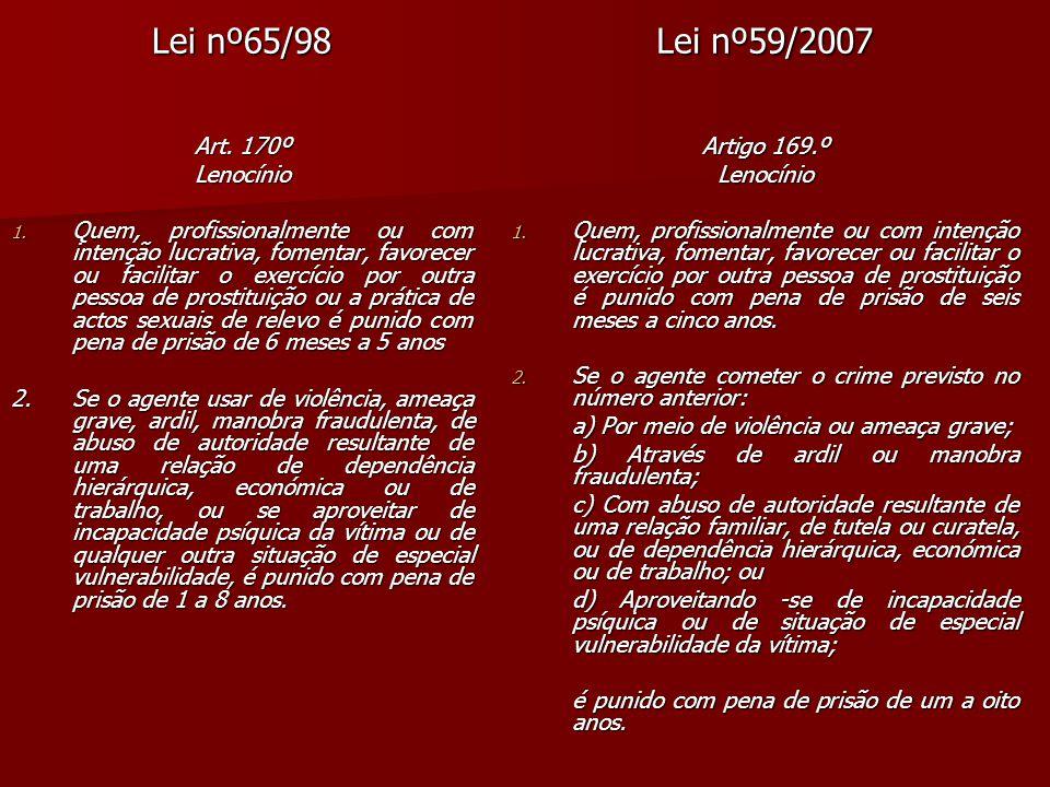 Lei nº65/98 Lei nº59/2007 Art. 170º Lenocínio