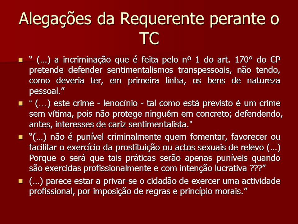 Alegações da Requerente perante o TC