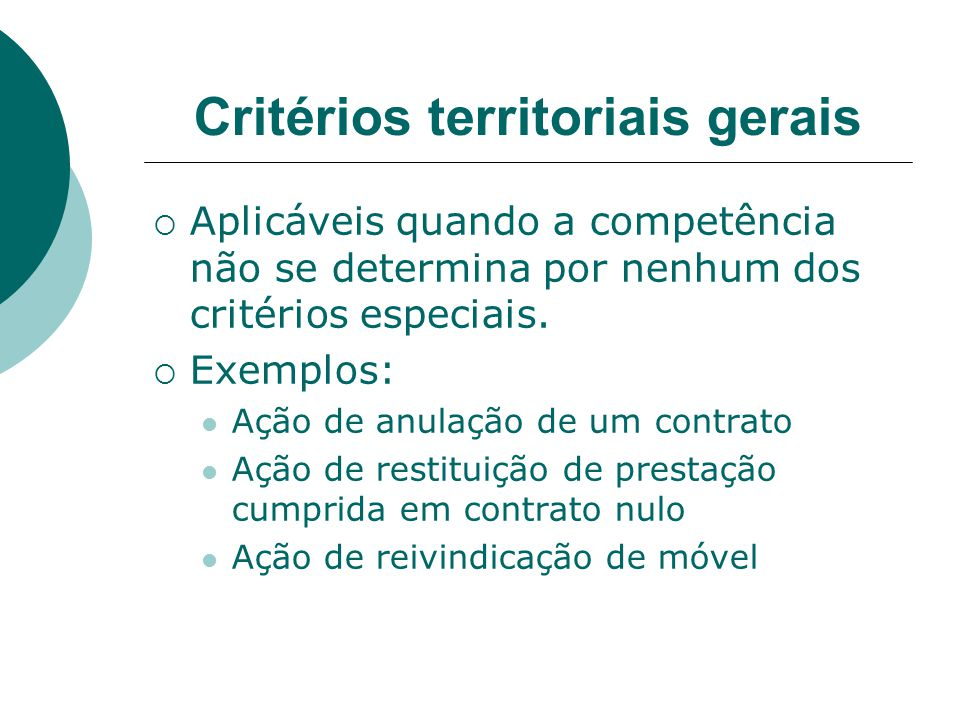 Critérios territoriais gerais