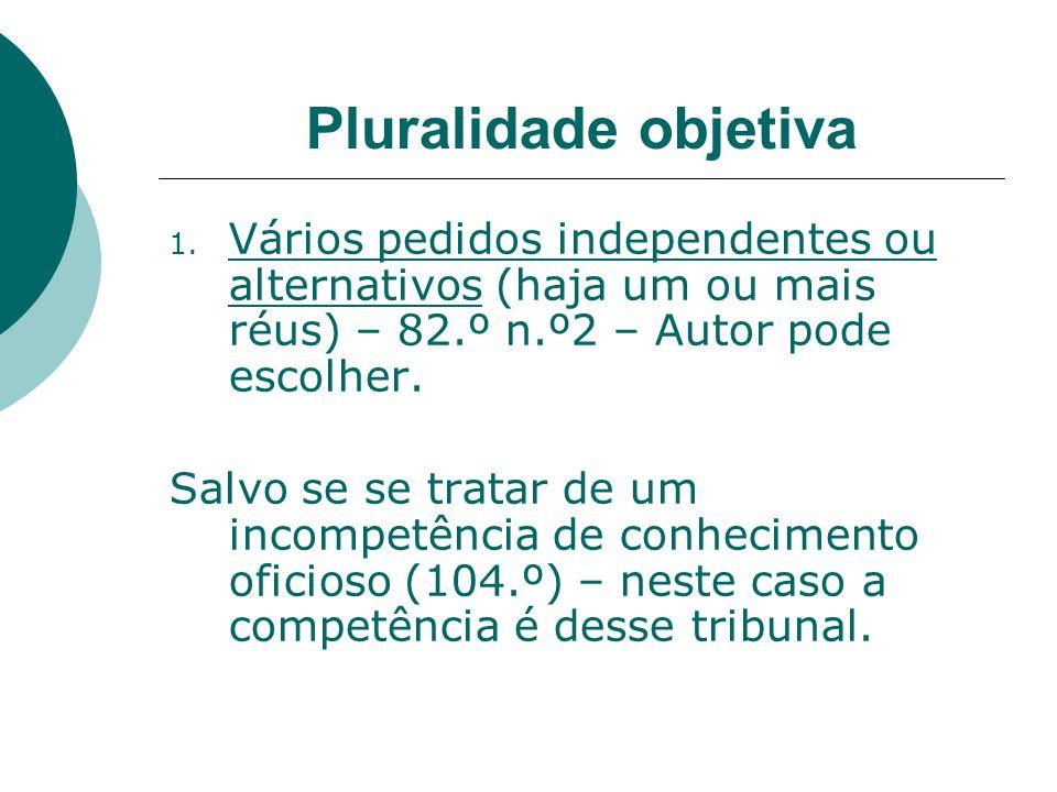 Pluralidade objetiva Vários pedidos independentes ou alternativos (haja um ou mais réus) – 82.º n.º2 – Autor pode escolher.