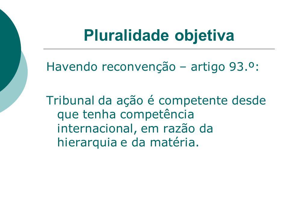 Pluralidade objetiva Havendo reconvenção – artigo 93.º: