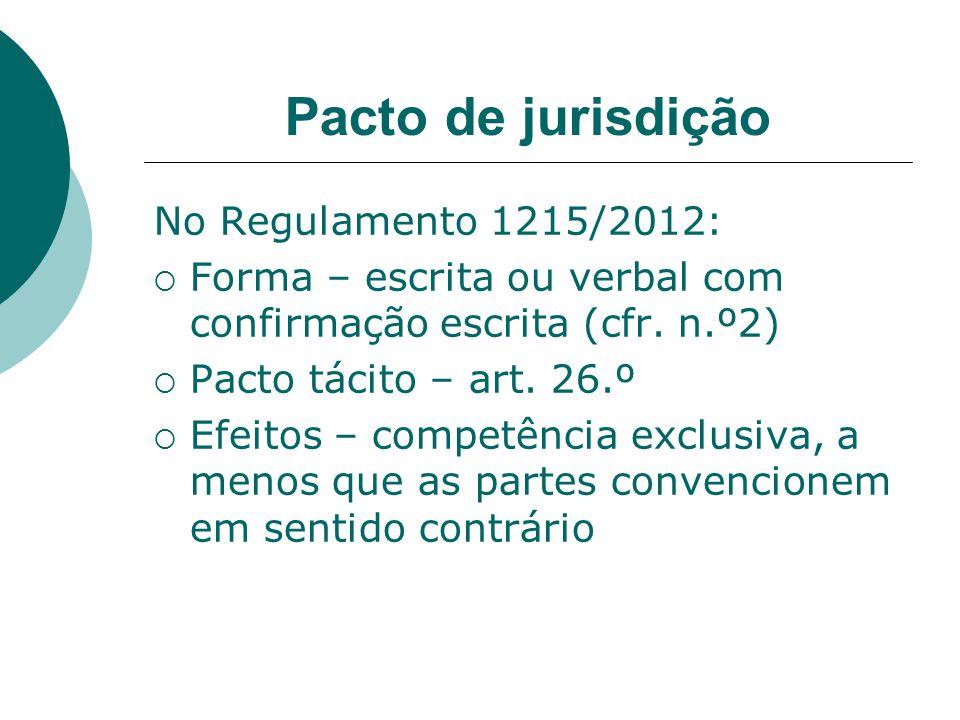 Pacto de jurisdição No Regulamento 1215/2012: