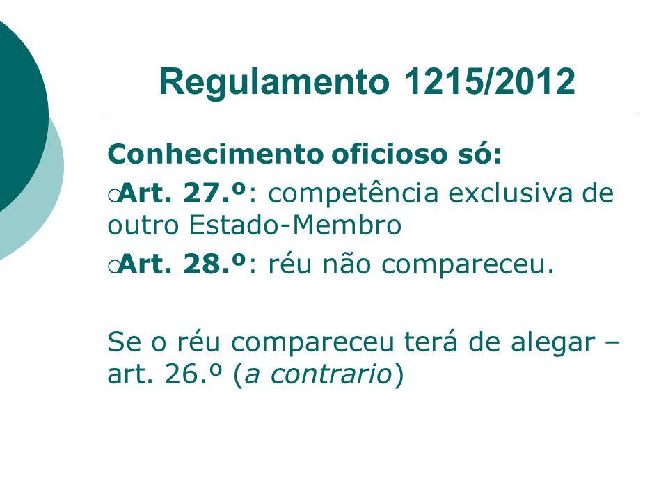 Regulamento 1215/2012 Conhecimento oficioso só: