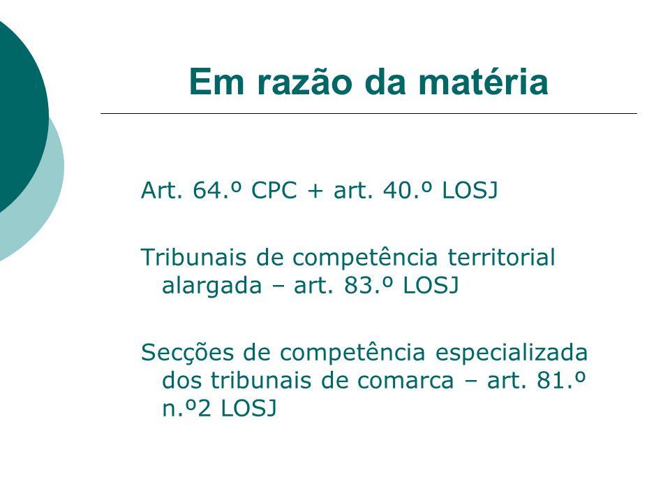 Em razão da matéria Art. 64.º CPC + art. 40.º LOSJ