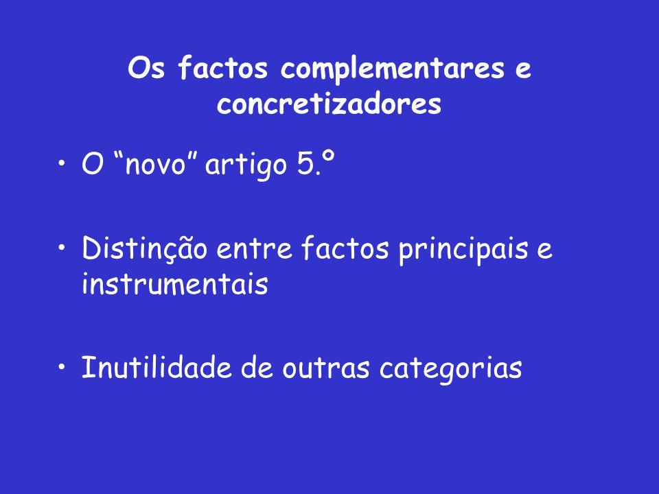 Os factos complementares e concretizadores