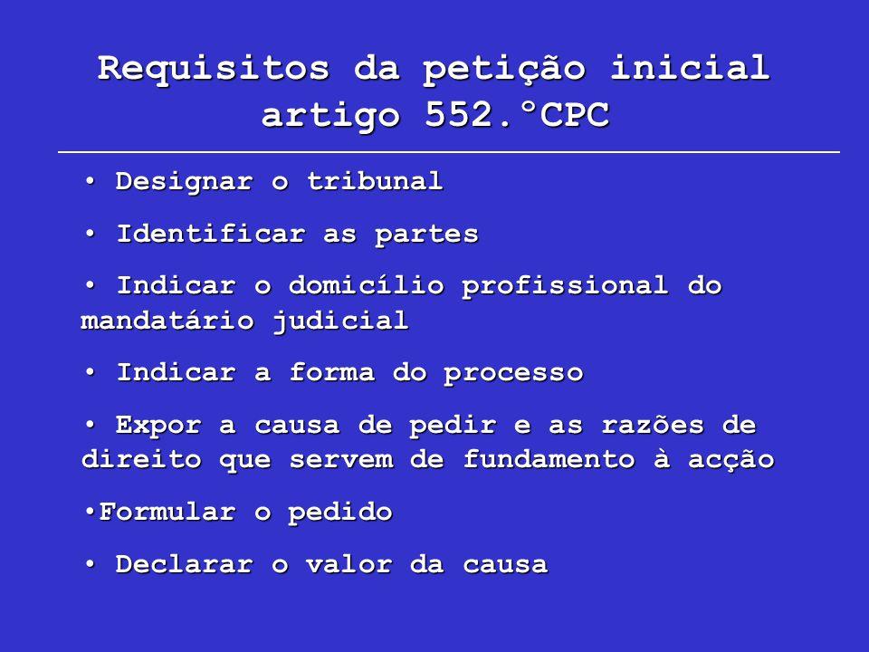 Requisitos da petição inicial artigo 552.ºCPC