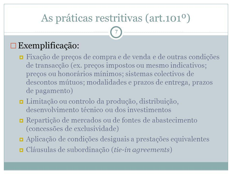 As práticas restritivas (art.101º)‏