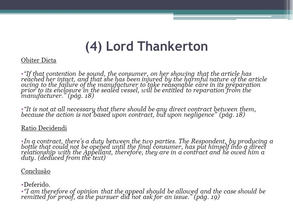 (4) Lord Thankerton Obiter Dicta