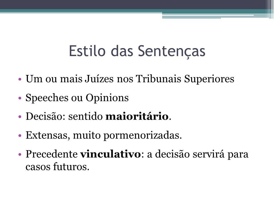 Estilo das Sentenças Um ou mais Juízes nos Tribunais Superiores