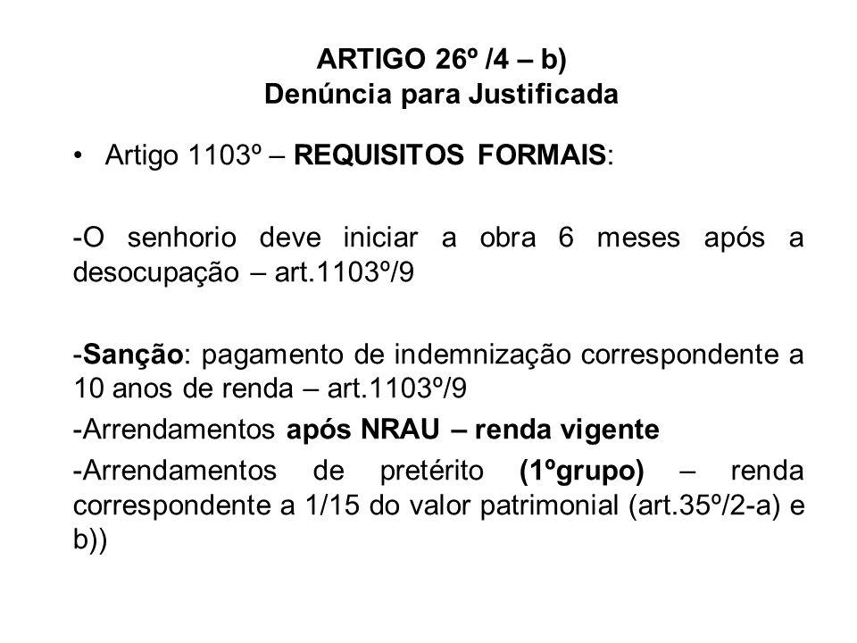 ARTIGO 26º /4 – b) Denúncia para Justificada