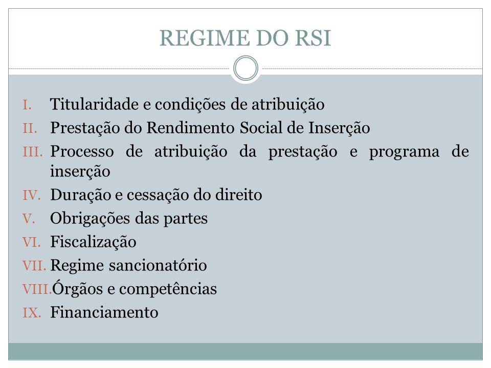 REGIME DO RSI Titularidade e condições de atribuição
