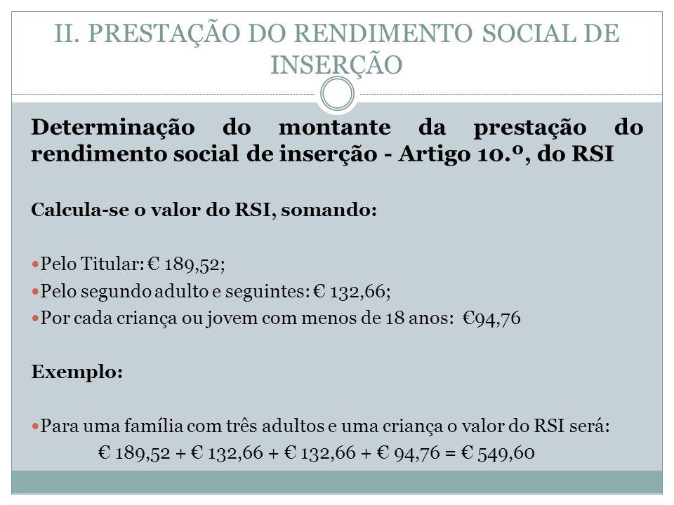 II. PRESTAÇÃO DO RENDIMENTO SOCIAL DE INSERÇÃO