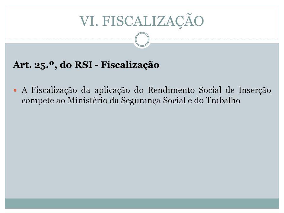 VI. FISCALIZAÇÃO Art. 25.º, do RSI - Fiscalização