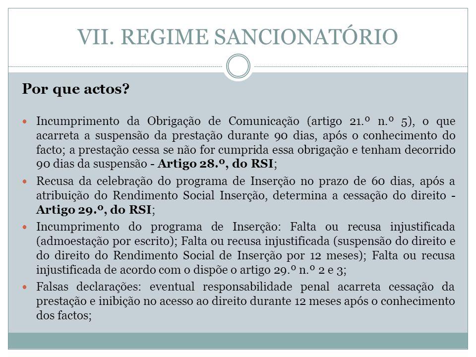VII. REGIME SANCIONATÓRIO