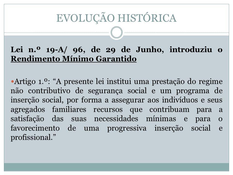 EVOLUÇÃO HISTÓRICA Lei n.º 19-A/ 96, de 29 de Junho, introduziu o Rendimento Mínimo Garantido.