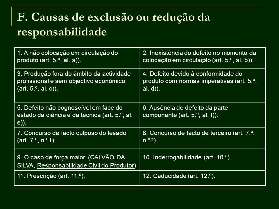 F. Causas de exclusão ou redução da responsabilidade