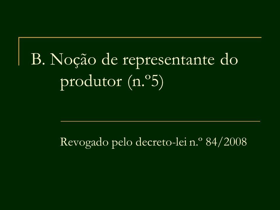 B. Noção de representante do produtor (n