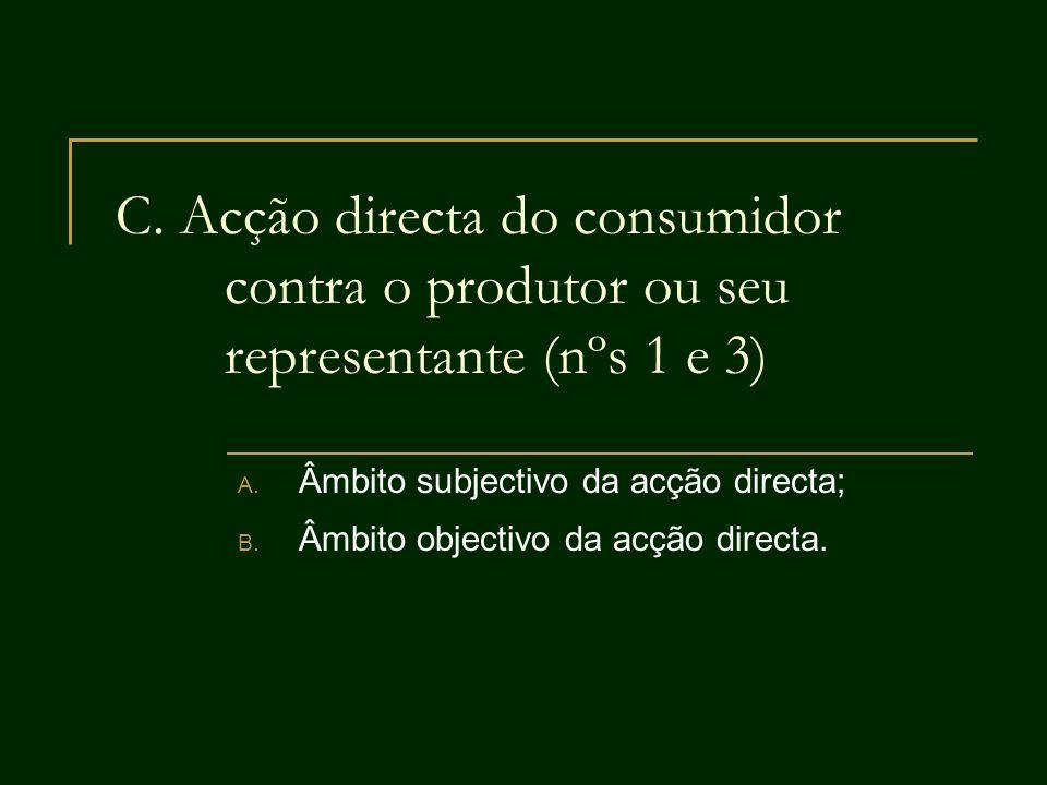 Âmbito subjectivo da acção directa; Âmbito objectivo da acção directa.