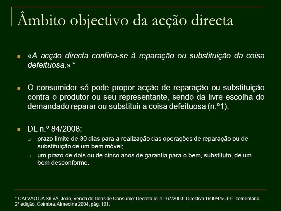 Âmbito objectivo da acção directa