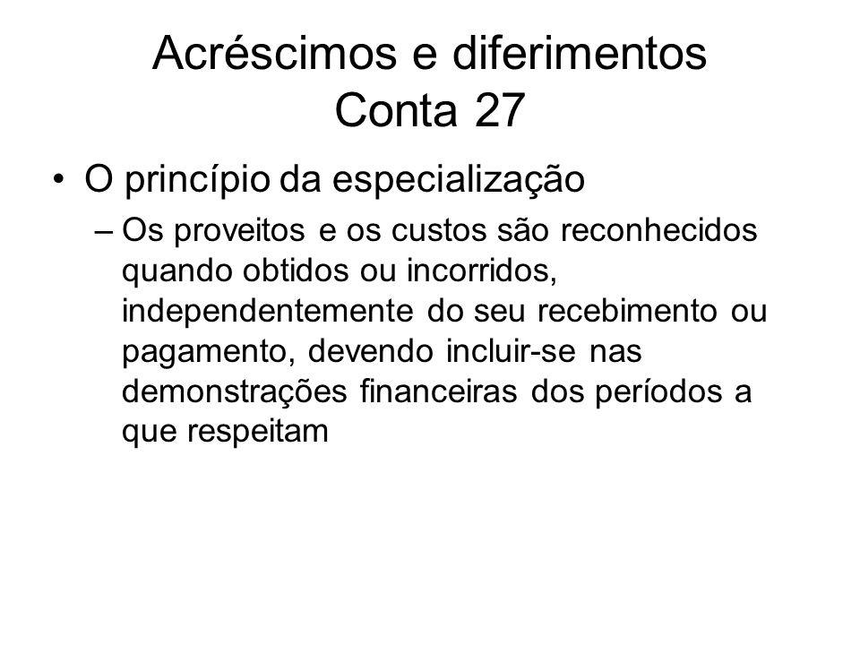 Acréscimos e diferimentos Conta 27