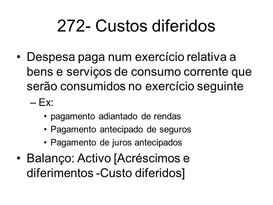 272- Custos diferidos Despesa paga num exercício relativa a bens e serviços de consumo corrente que serão consumidos no exercício seguinte.