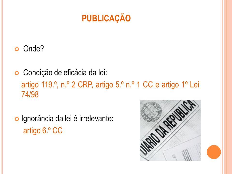 PUBLICAÇÃO Onde Condição de eficácia da lei: