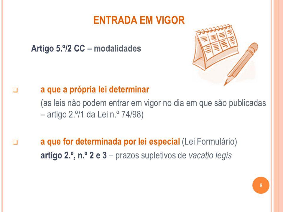 ENTRADA EM VIGOR Artigo 5.º/2 CC – modalidades