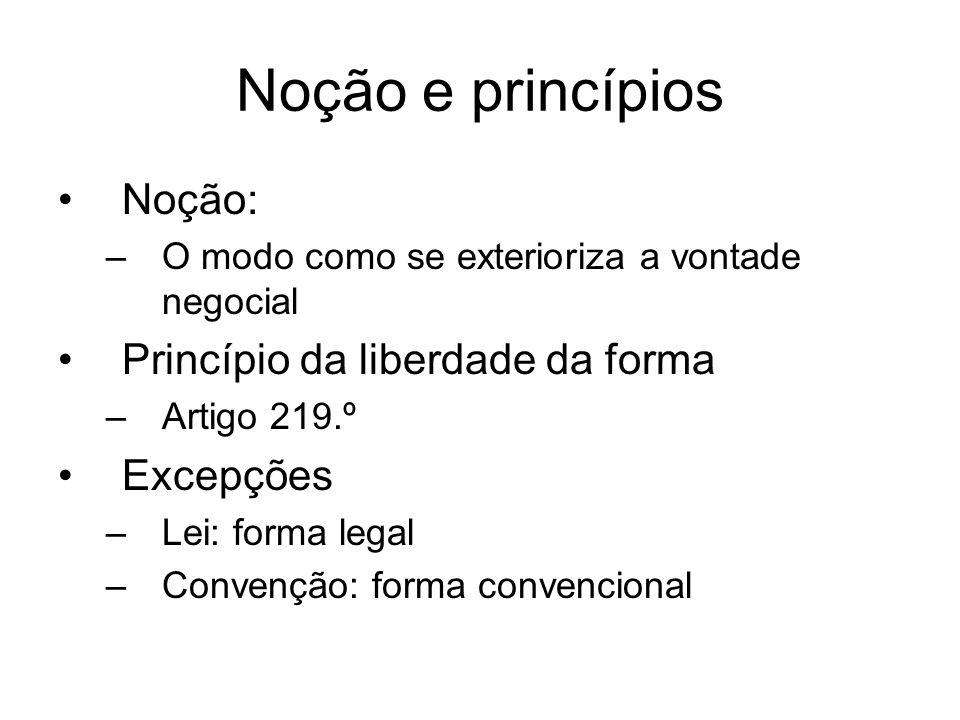 Noção e princípios Noção: Princípio da liberdade da forma Excepções