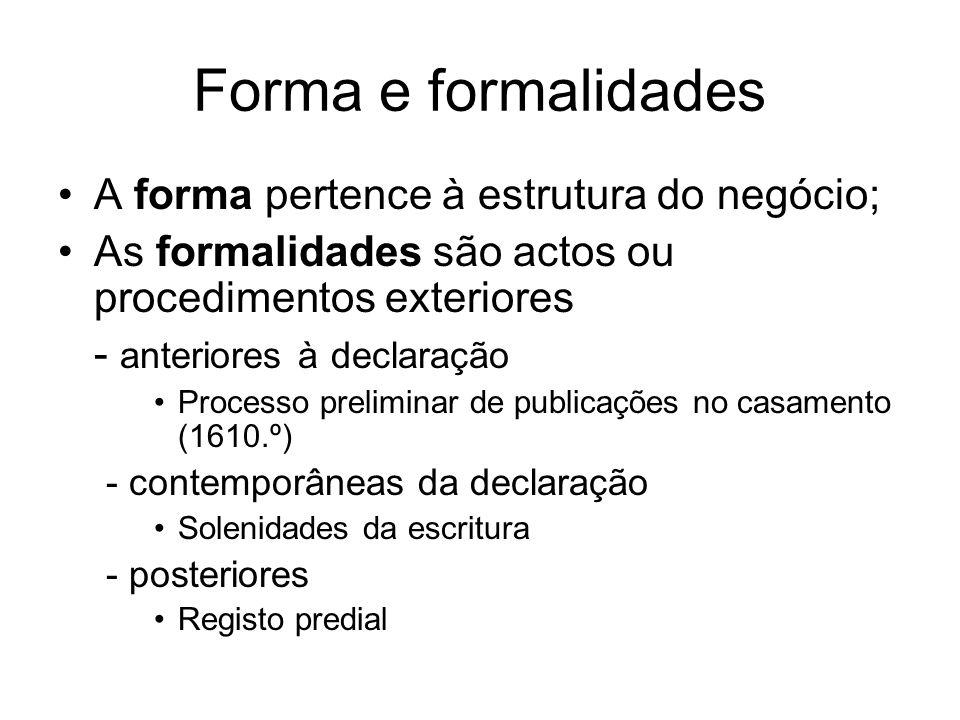 Forma e formalidades A forma pertence à estrutura do negócio;