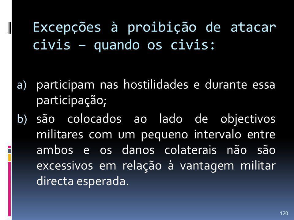 Excepções à proibição de atacar civis – quando os civis: