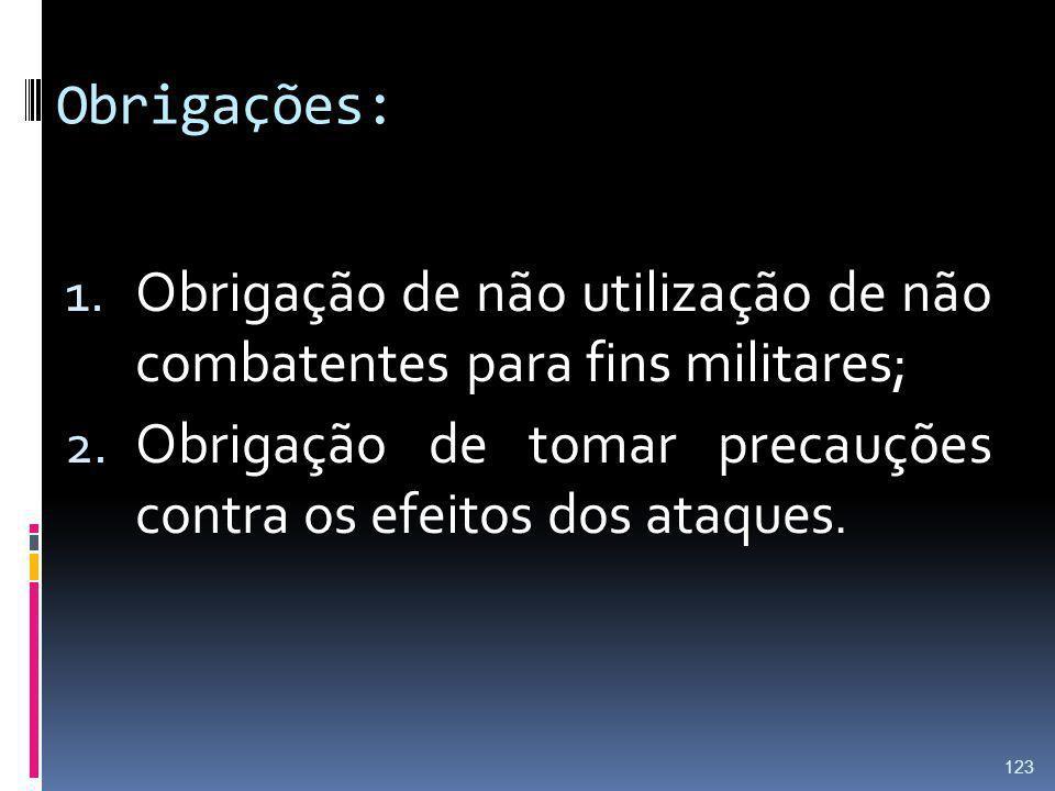 Obrigações: Obrigação de não utilização de não combatentes para fins militares; Obrigação de tomar precauções contra os efeitos dos ataques.
