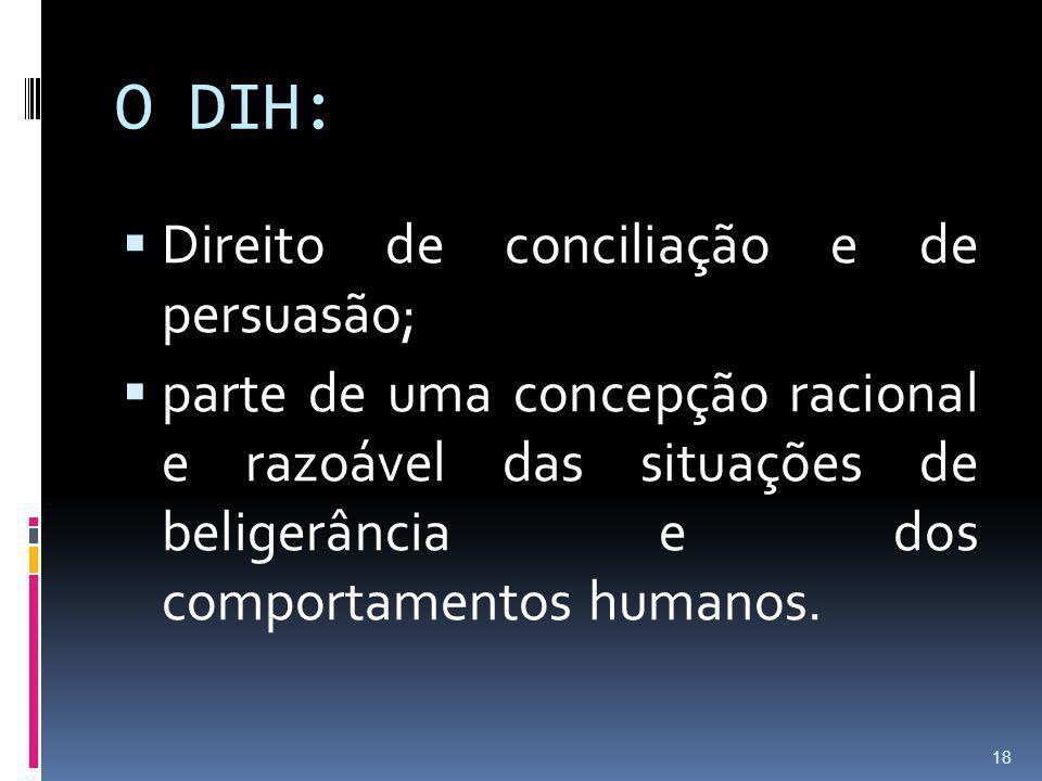O DIH: Direito de conciliação e de persuasão;