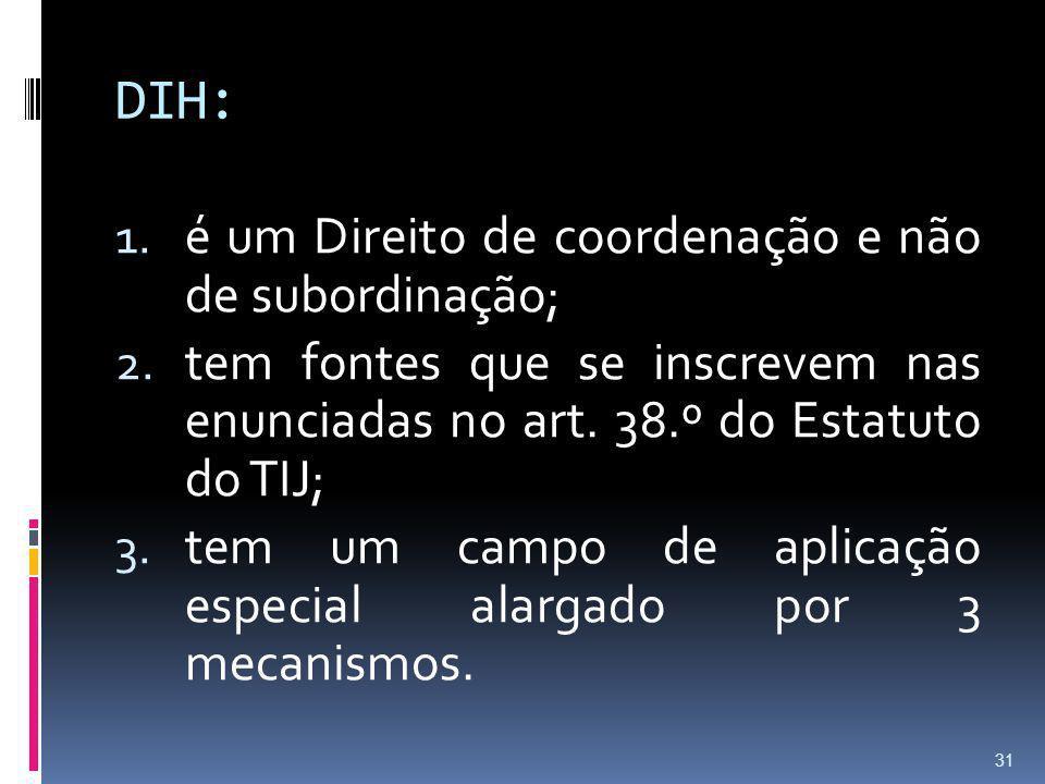 DIH: é um Direito de coordenação e não de subordinação;