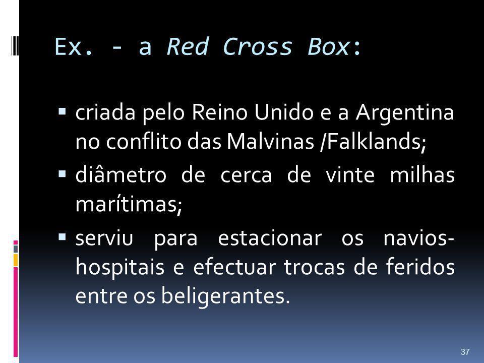 Ex. - a Red Cross Box: criada pelo Reino Unido e a Argentina no conflito das Malvinas /Falklands; diâmetro de cerca de vinte milhas marítimas;