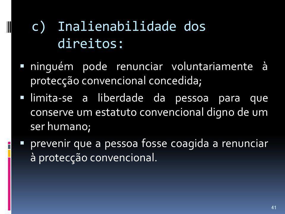 Inalienabilidade dos direitos: