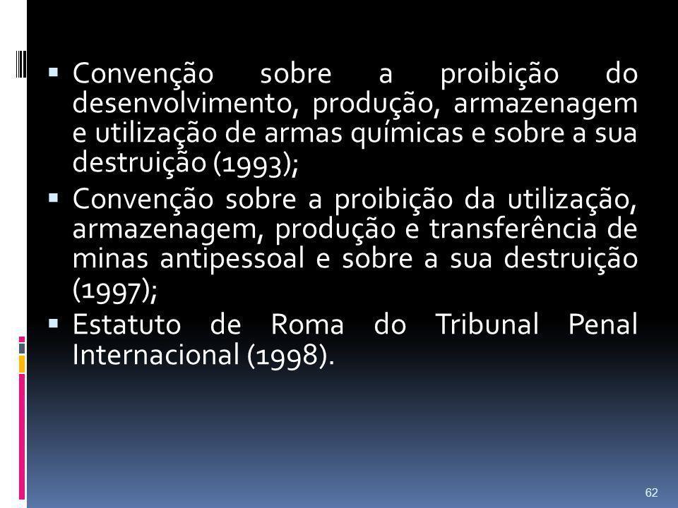 Convenção sobre a proibição do desenvolvimento, produção, armazenagem e utilização de armas químicas e sobre a sua destruição (1993);