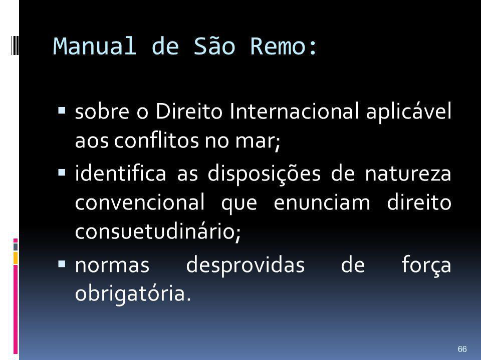 Manual de São Remo: sobre o Direito Internacional aplicável aos conflitos no mar;