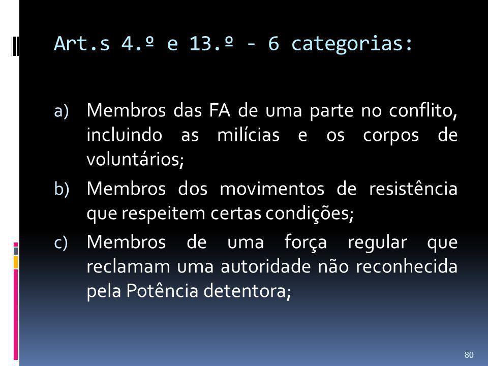 Art.s 4.º e 13.º - 6 categorias: Membros das FA de uma parte no conflito, incluindo as milícias e os corpos de voluntários;