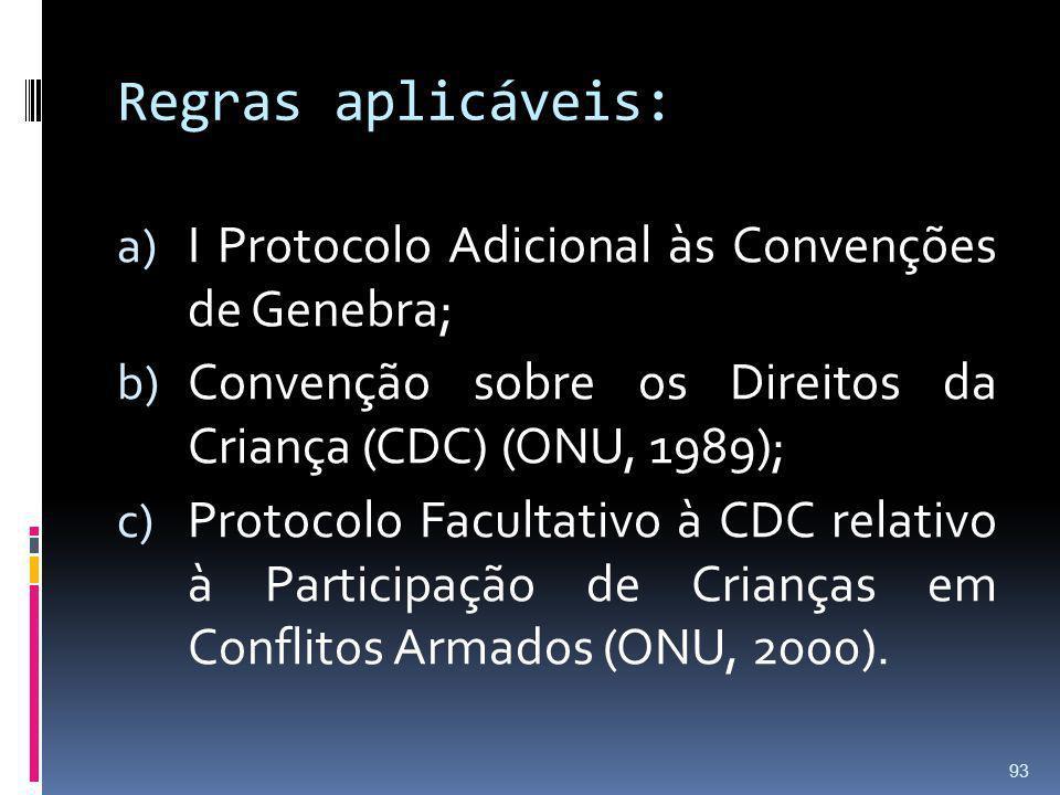 Regras aplicáveis: I Protocolo Adicional às Convenções de Genebra;