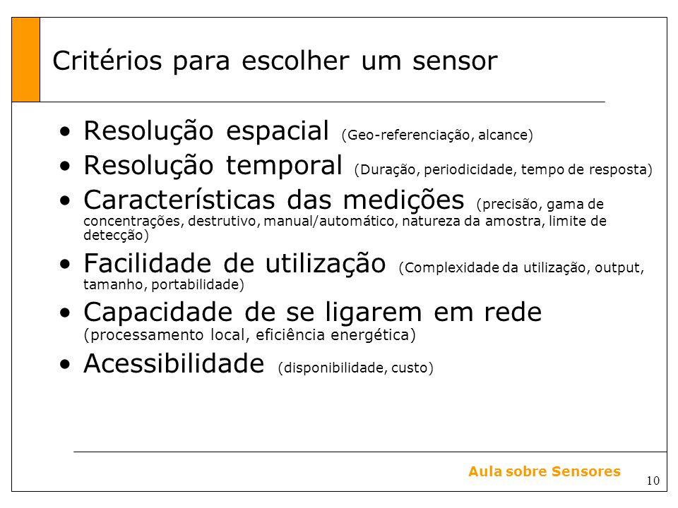 Critérios para escolher um sensor