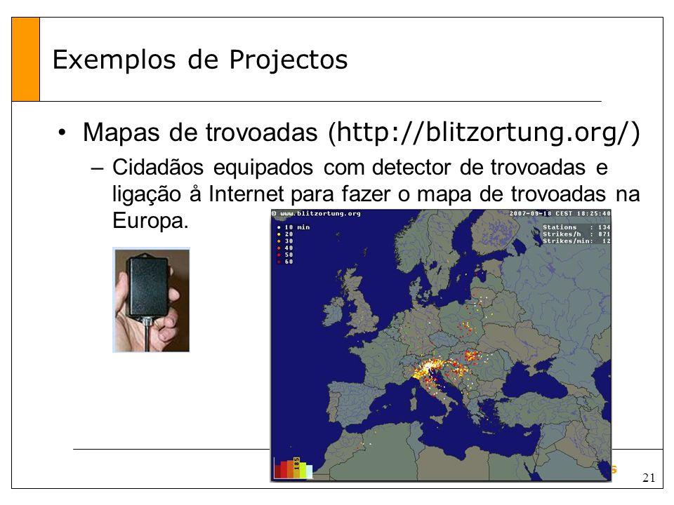 Mapas de trovoadas (http://blitzortung.org/)