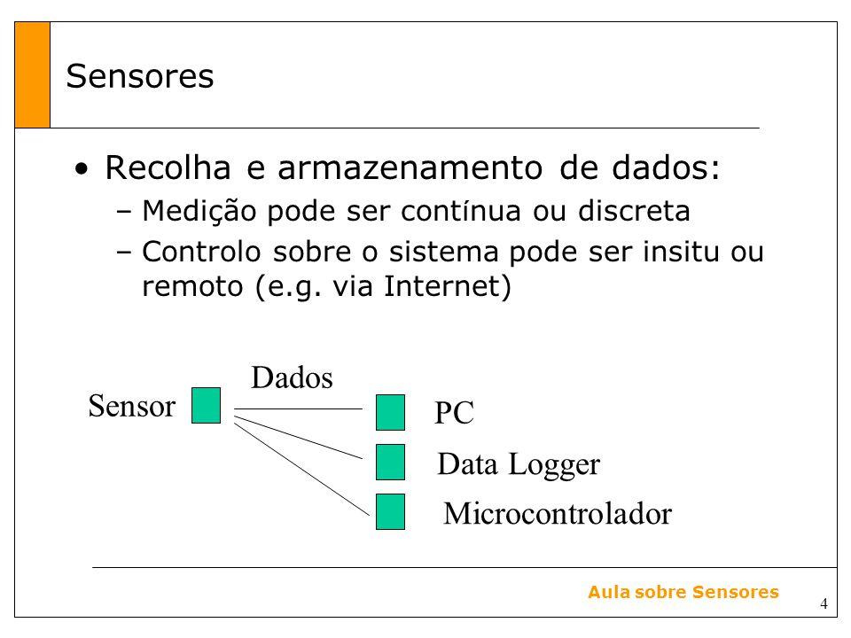 Recolha e armazenamento de dados: