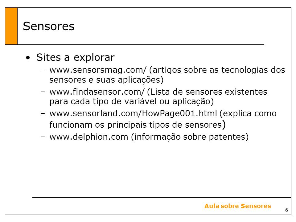 Sensores Sites a explorar