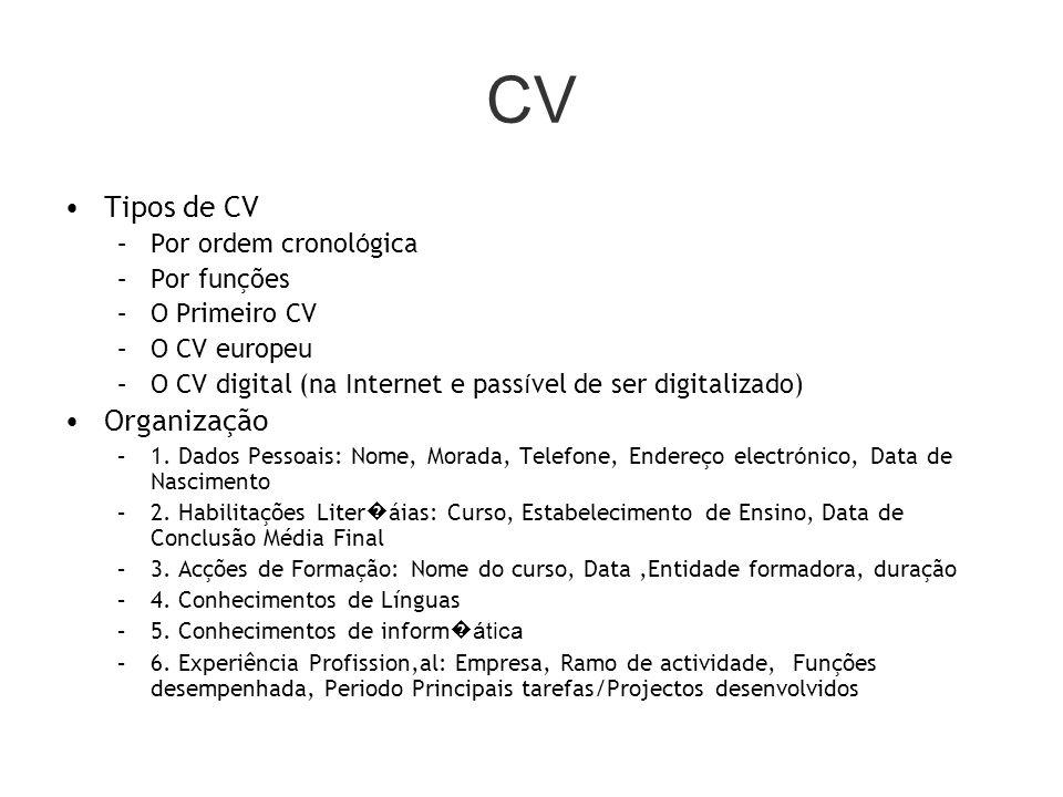 CV Tipos de CV Organização Por ordem cronológica Por funções