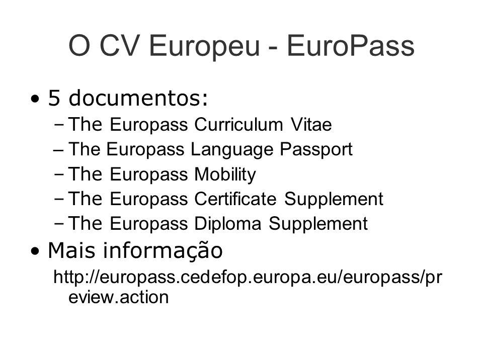 O CV Europeu - EuroPass 5 documentos: Mais informação