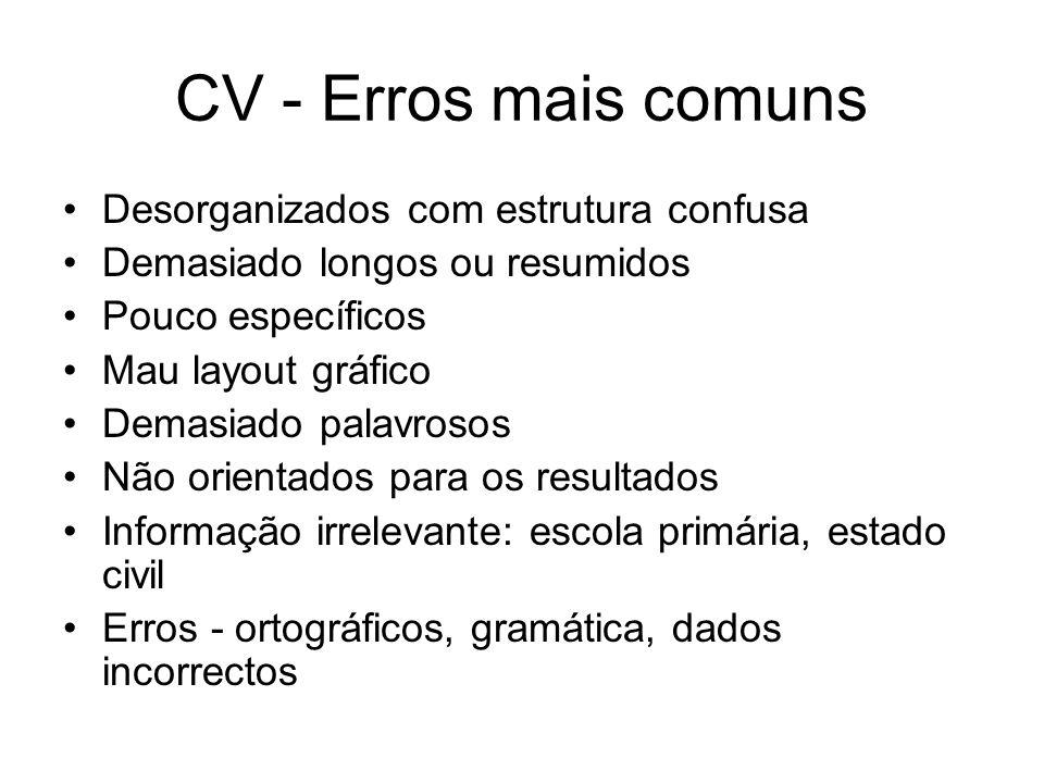 CV - Erros mais comuns Desorganizados com estrutura confusa